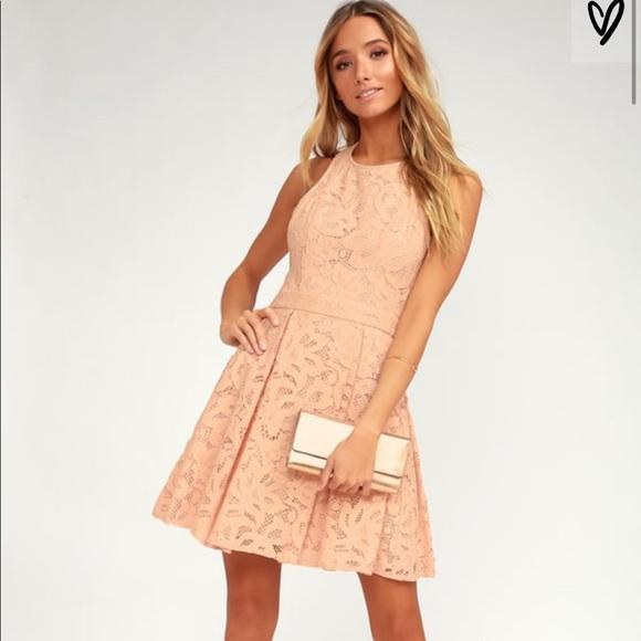5975e6dbad Lulu's Dresses | Blush Lace Lulus Eyelet Skater Dress | Poshmark